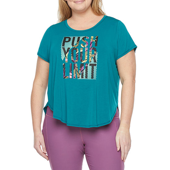 Xersion Plus Womens Round Neck Short Sleeve Graphic T-Shirt