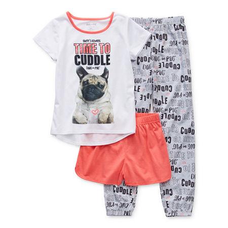 Doug The Pug Big Girls 3-pc. Pajama Set, Small , Pink