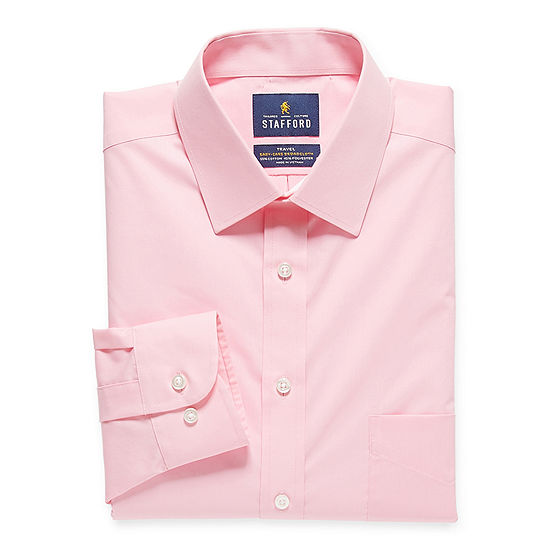 Stafford Mens Travel Easy-Care Broadcloth Stretch Regular Fit Dress Shirt