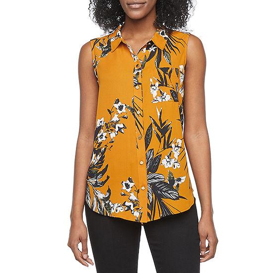 Liz Claiborne Womens Sleeveless Regular Fit Button-Down Shirt
