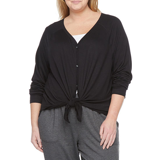 Ambrielle Womens Plus French Terry V Neck Pajama Top