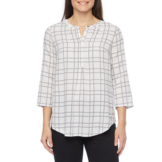 Liz Claiborne Womens Henley Neck 3/4 Sleeve Tunic Top
