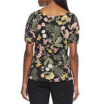 Liz Claiborne Womens Square Neck Short Sleeve Blouse