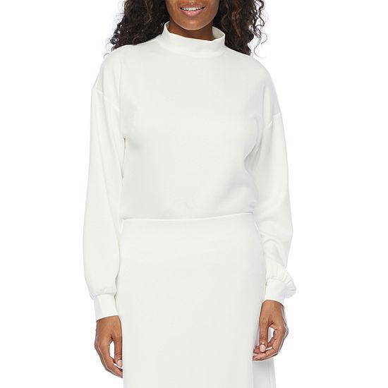Worthington Womens Mock Neck Long Sleeve T-Shirt