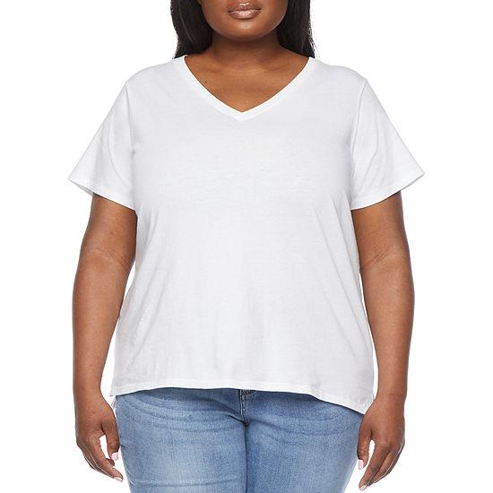 a.n.a-Plus Womens Short Sleeve V-Neck T-Shirt