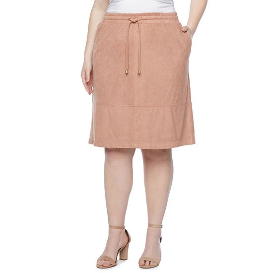 Liz Claiborne Womens Plus Midi A-Line Skirt