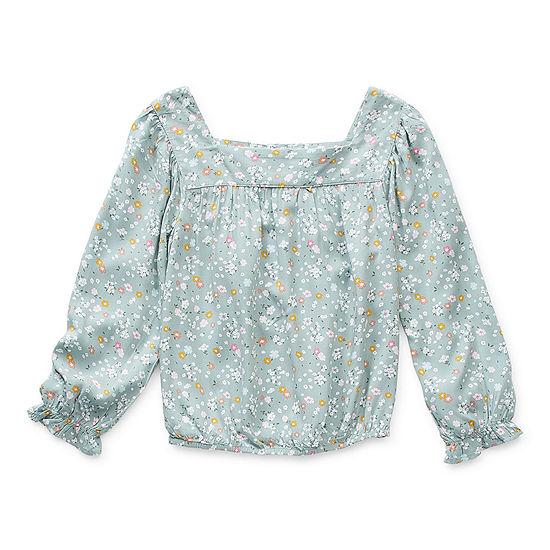 Arizona Little & Big Girls Square Neck Long Sleeve Blouse