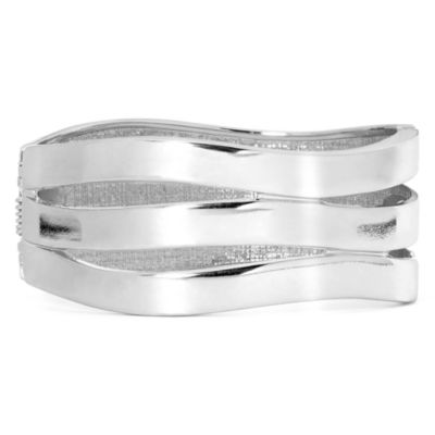 Worthington® Silver-Tone Wave Hinged Bracelet