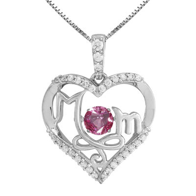 Love in Motion™ Lab-Created Pink and White Sapphire Sterling Silver Mom Pendant