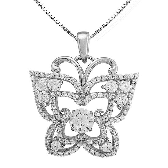 Love in Motion™ Lab-Created White Sapphire Butterfly Pendant Necklace