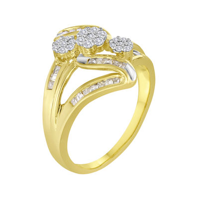 diamond blossom 1/2 CT. T.W. Diamond 10K Yellow Gold Triple-Cluster Slant Ring