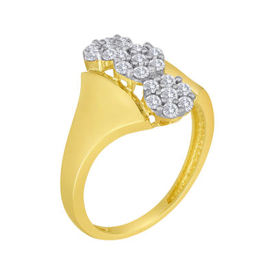 diamond blossom 1/2 CT. T.W. Diamond 10K Yellow Gold Triple-Cluster Ring