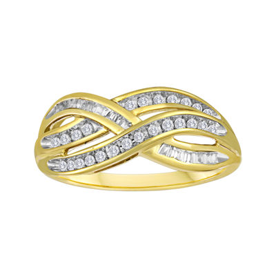 1/3 CT. T.W. Diamond 10K Yellow Gold Swirl Ring