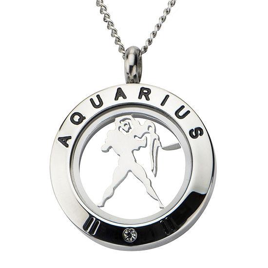 Aquarius Zodiac Cubic Zirconia Stainless Steel Locket Pendant Necklace