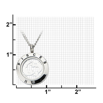 Pisces Zodiac Cubic Zirconia Stainless Steel Locket Pendant Necklace
