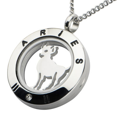 Aries Zodiac Cubic Zirconia Stainless Steel Locket Pendant Necklace