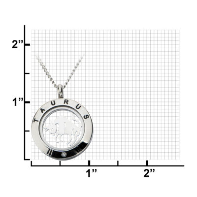 Taurus Zodiac Cubic Zirconia Stainless Steel Locket Pendant Necklace