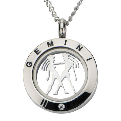 Gemini Zodiac Cubic Zirconia Stainless Steel Locket Pendant Necklace