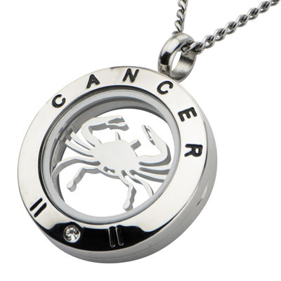 Cancer Zodiac Cubic Zirconia Stainless Steel Locket Pendant Necklace