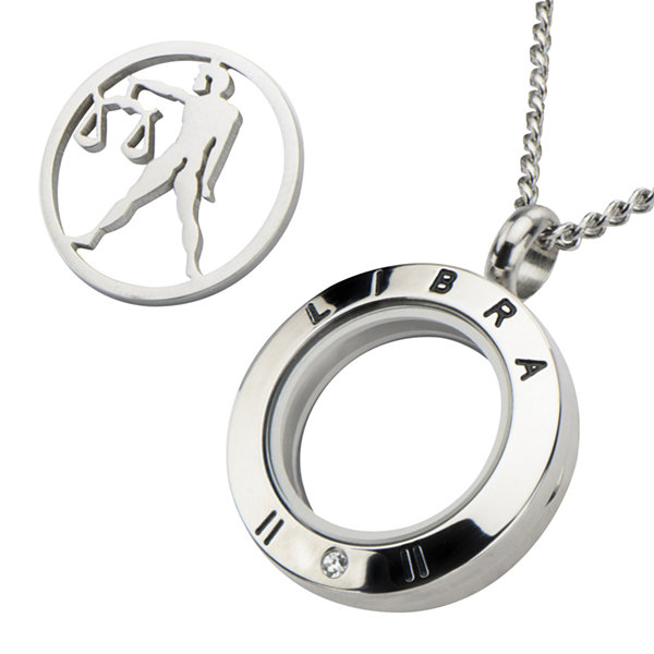Libra Zodiac Cubic Zirconia Stainless Steel Pendant Necklace