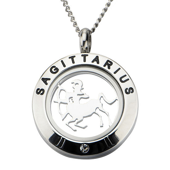Sagittarius Zodiac Cubic Zirconia Stainless Steel Locket Pendant Necklace