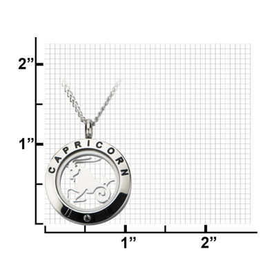 Capricorn Zodiac Cubic Zirconia Stainless Steel Locket Pendant Necklace