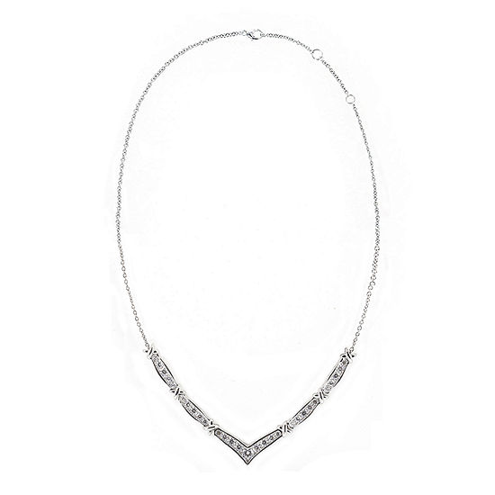 "DiamonArt® Cubic Zirconia Sterling Silver Chevron ""X"" Necklace"