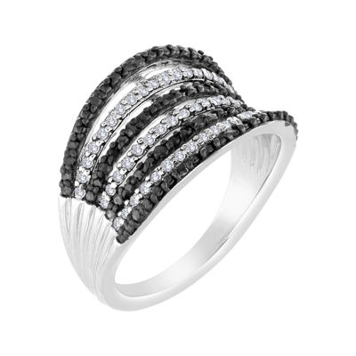 1/2 CT. T.W. White and Color-Enhanced Black Diamond 7-Row Band Ring