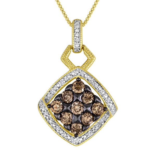 3/4 CT. T.W. White and Champagne Diamond Pendant Necklace
