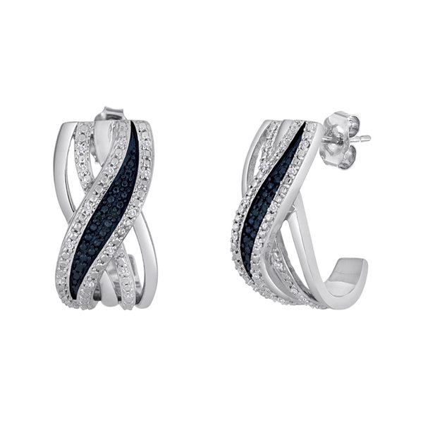 1/10 CT. T.W. White and Color-Enhanced Blue Diamond Crossover Earrings