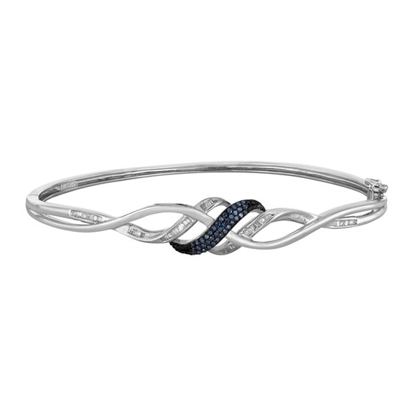 1/3 CT. T.W. White and Color-Enhanced Blue Diamond Swirl Bangle Bracelet