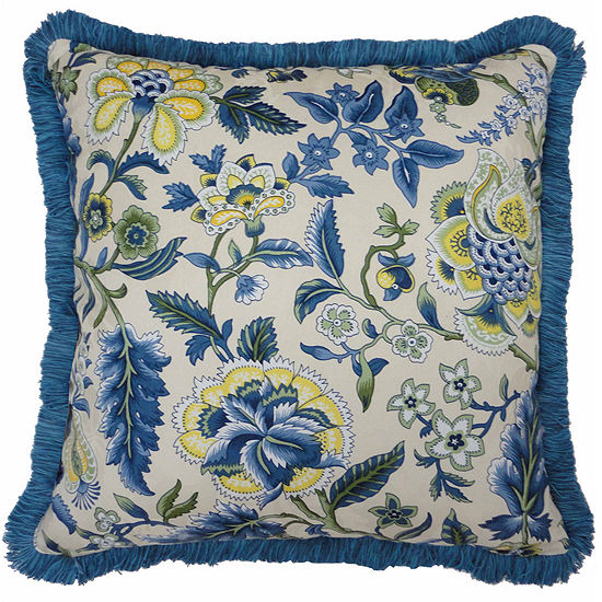 """Waverly® Imperial Dress 18"""" Fringed Square Decorative Pillow"""
