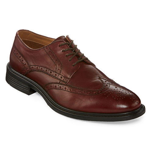 Stafford® Asher Mens Flex Form Leather Wingtip Oxfords