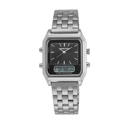 Armitron® Mens Silver-Tone Square Bracelet Watch