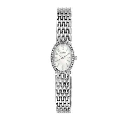 Armitron® Womens Silver-Tone Oval Bracelet Watch