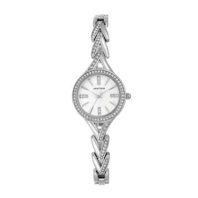 Armitron® Womens Crystal Silver-Tone Round Bangle Watch