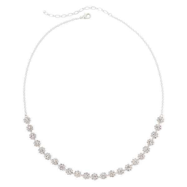 Vieste® Crystal Silver-Tone Floral Collar Necklace