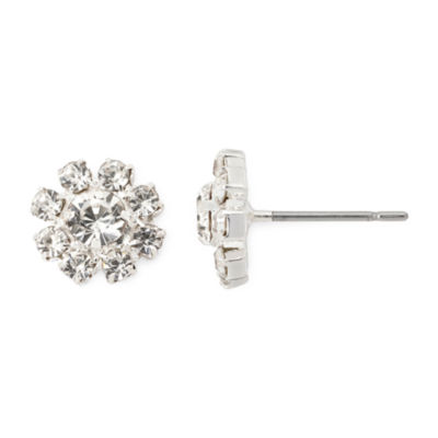 Vieste® Silver-Tone Crystal Mini Flower Stud Earrings