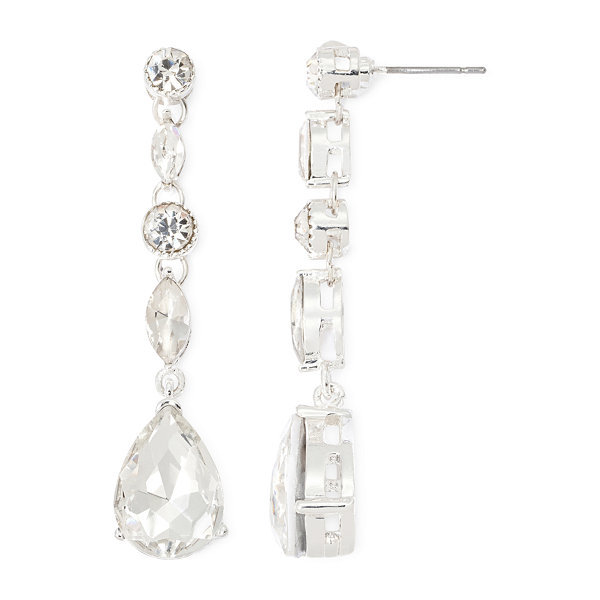 Vieste® Glass Crystal Silver-Tone Pear Drop Earrings