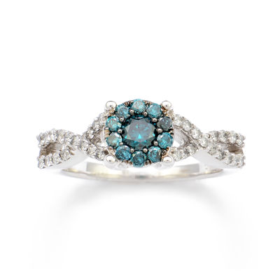 LIMITED QUANTITIES 3/4 CT. T.W. White and Color-Enhanced Blue Diamond Engagement Ring