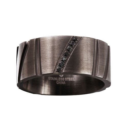 Mens Diamond Accent Black Stainless Steel 10mm Wedding Band