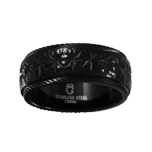 Mens Black Stainless Steel Textured 8mm Wedding Band