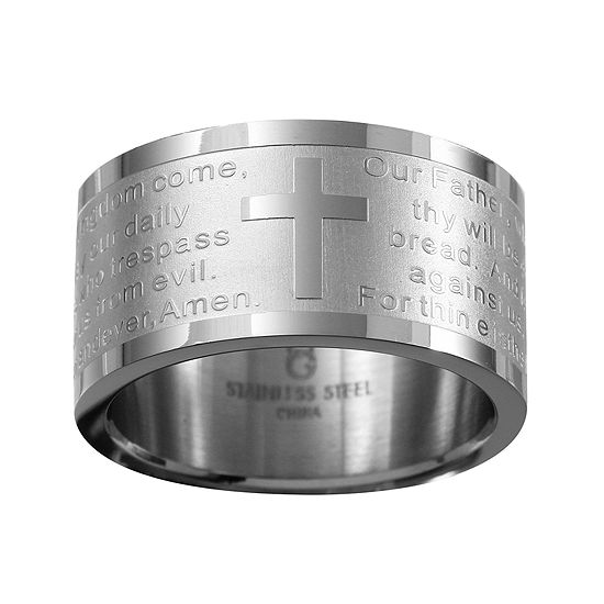 Mens Stainless Steel Lord's Prayer Wedding Band