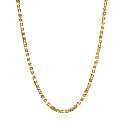 14K Yellow Gold Diamond-Cut Popcorn Chain Necklace