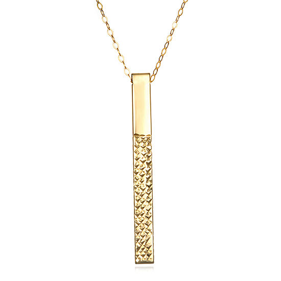 14K Yellow Gold Diamond-Cut Stick Pendant Necklace