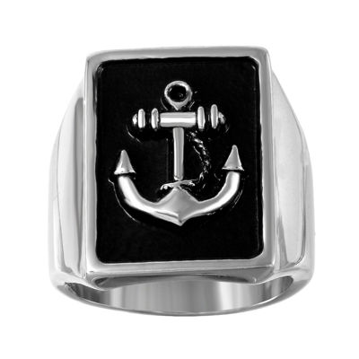 Mens Two-Tone Stainless Steel Anchor Ring