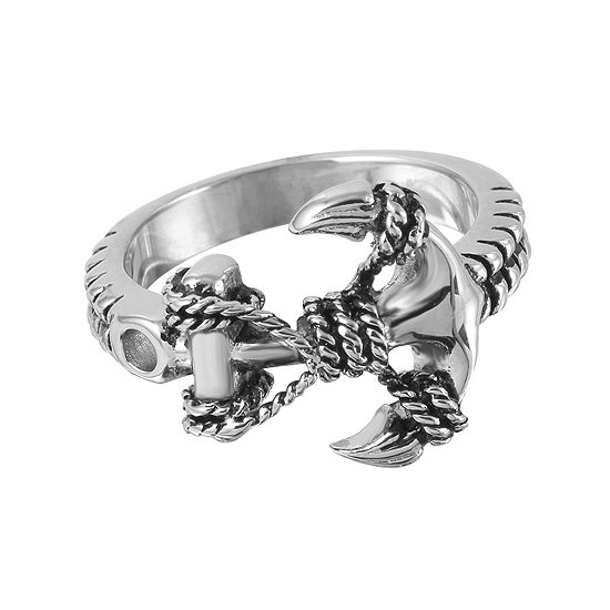 Mens Stainless Steel Braided Anchor Ring