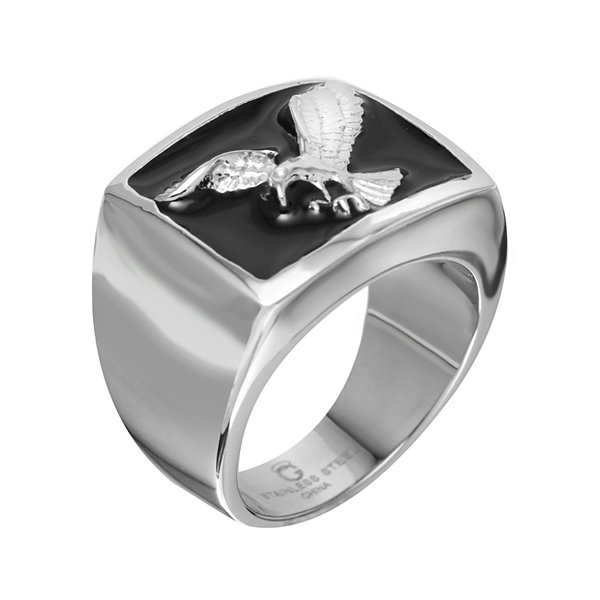 Mens Two-Tone Stainless Steel Black Enamel Eagle Ring