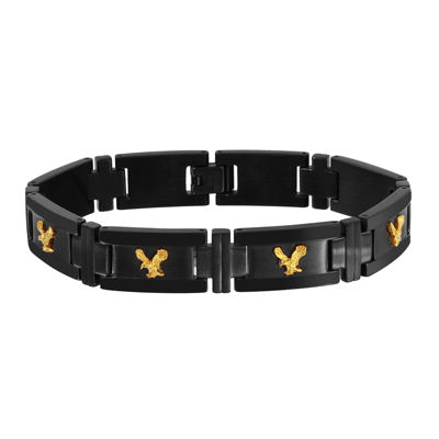 Mens Two-Tone Stainless Steel Cast Link Bracelet