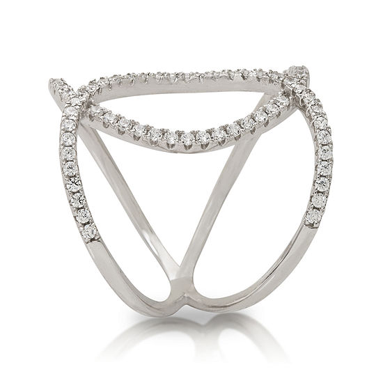 Cubic Zirconia Sterling Silver Double Loop Ring